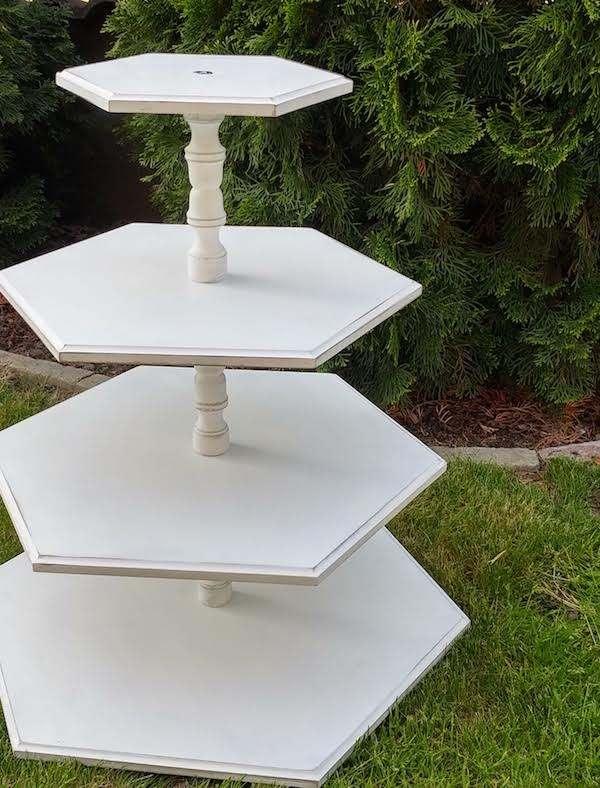 4 szintes hatszögű vintage tortatartó állvány bérlése